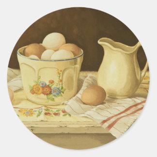 1175 Bowl of Eggs & Pitcher Round Sticker