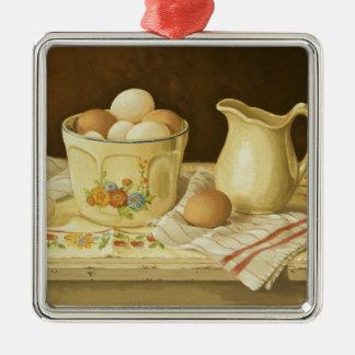 1175 Bowl of Eggs & Pitcher Silver-Colored Square Ornament