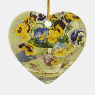 1187 Pansies in Teacup Ceramic Ornament