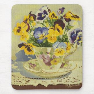 1187 Pansies in Teacup Mouse Pad