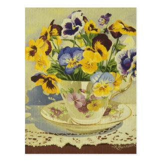 1187 Pansies in Teacup Postcard