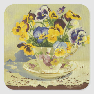 1187 Pansies in Teacup Square Sticker