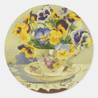 1187 Pansies in Teacup Round Sticker