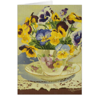 1187 Pansies in Teacup Sympathy Card