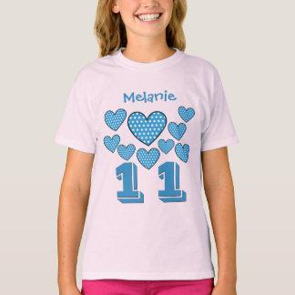 11 Birthday Girl Hearts Big Number Custom Name V23 T-Shirt