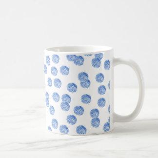 11 oz classic mug with blue polka dots