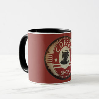 11 oz Mug with coffee shop sign with red and black