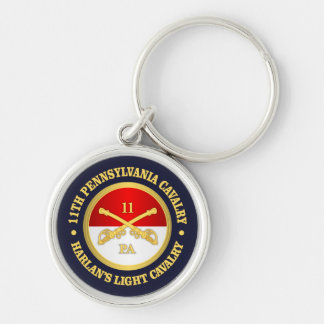 11 PA Cavalry Silver-Colored Round Keychain