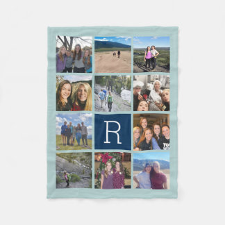 11 Photo Collage with Monogram Can Edit Back Color Fleece Blanket