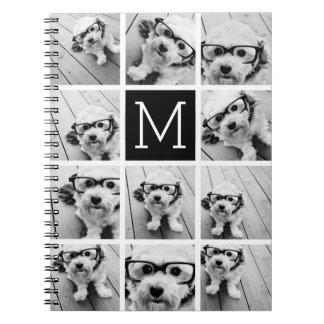 11 Photo Instagram Collage Custom Black Monogram Notebooks