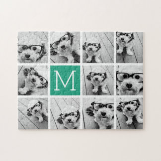 11 Photos with Monogram - CAN EDIT COLOR Jigsaw Puzzle