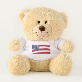"11"" Sherman Teddy Bear with USA Flag"