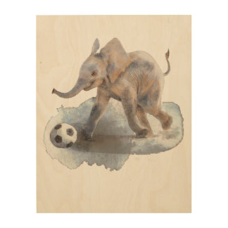 "11""x14"" Playful Elephant Birch Wood Wall Art"