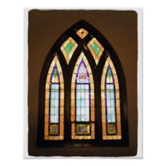 11 x 14 Arched Stained Glass Window Painting Poster