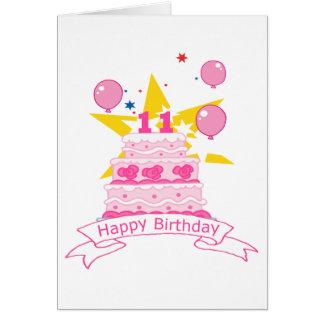 11 Year Old Birthday Cake Greeting Card