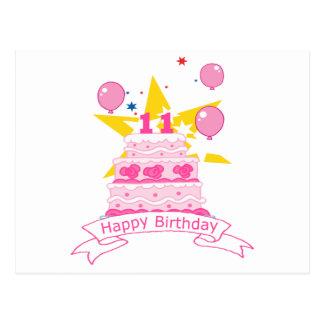 11 Year Old Birthday Cake Postcard