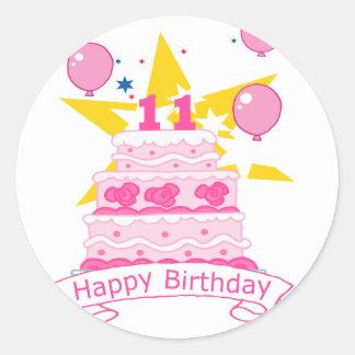 11 Year Old Birthday Cake Round Sticker