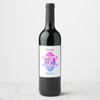11 Year traditional Steel 11th wedding anniversary Wine Label