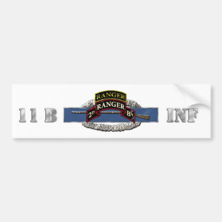 11B 75th Ranger 2nd Battalion w/ Tab Bumper Sticker