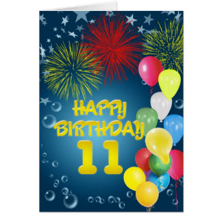 11th Birthday card with fireworks and balloons
