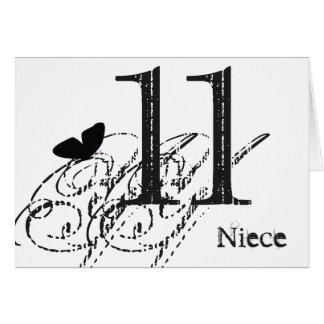 11th birthday for a niece, black butterfly, text. card