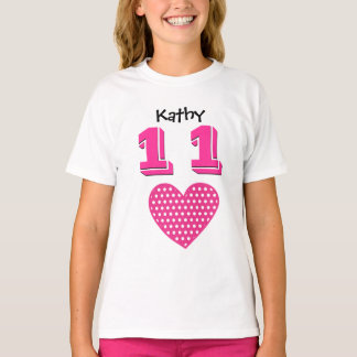 11th Birthday Girl Big Heart Custom Name V01 T-Shirt