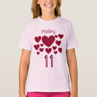 11th Birthday Girl Oodles of Hearts 11 Years T-Shirt