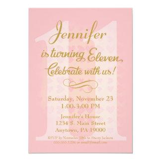 11th Birthday Invitation Girls Pink Gold Hearts
