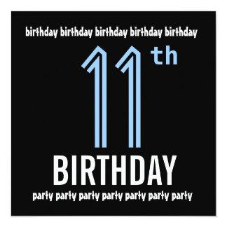 11th Birthday Party Modern Blue and Black W690 Card