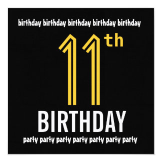 "11th Birthday Party Modern Gold and Black 5.25"" Square Invitation Card"