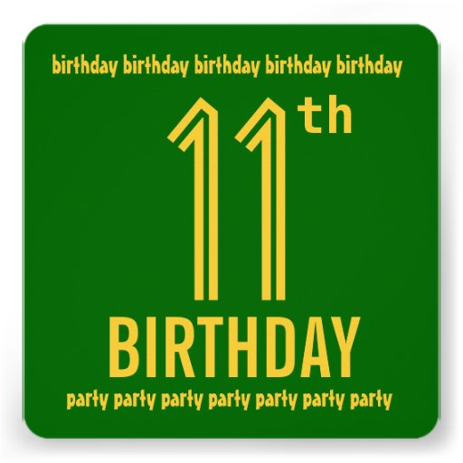 11th Birthday Party Modern Green and Gold Personalized Invite