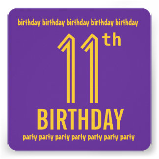 11th Birthday Party Modern Purple and Gold Announcements