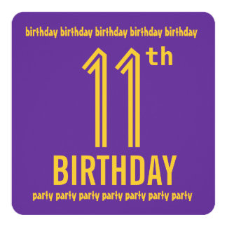 """11th Birthday Party Modern Purple and Gold 5.25"""" Square Invitation Card"""