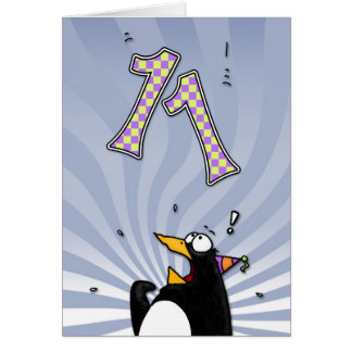 11th Birthday - Penguin Surprise Card