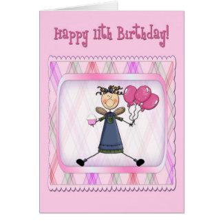 11th Birthday Pink Angel Card