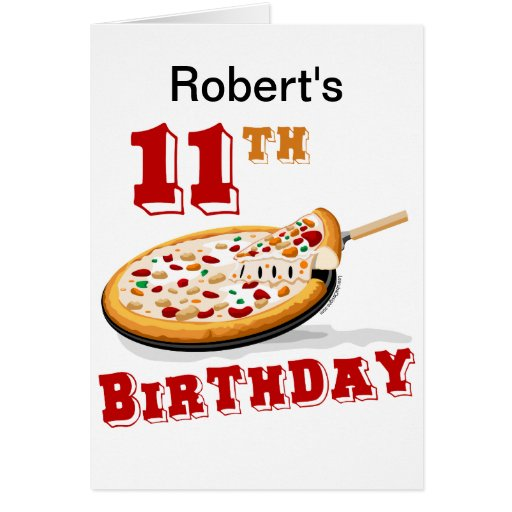 11th Birthday Pizza party Cards