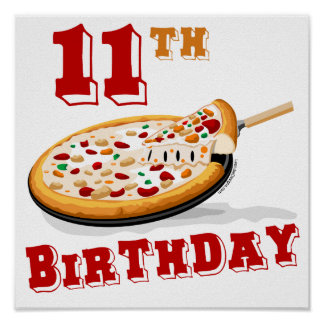 11th Birthday Pizza party Poster