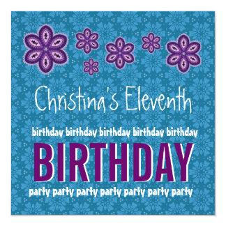 "11th Birthday Purple Flowers Custom Name 5.25"" Square Invitation Card"