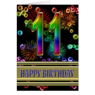 11th Birthday with rainbow bubbles and fireworks Card