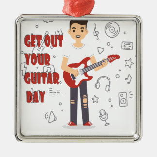 11th February - Get Out Your Guitar Day Metal Ornament