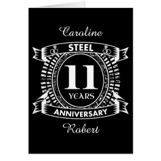 11TH wedding anniversary steel Card