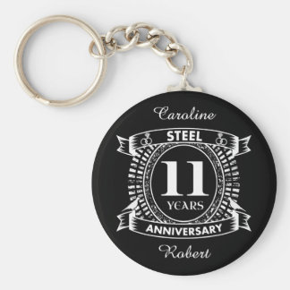 11TH wedding anniversary steel Keychain
