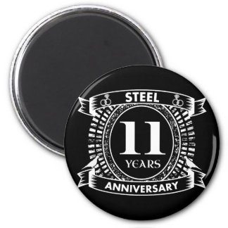 11TH wedding anniversary steel Magnet