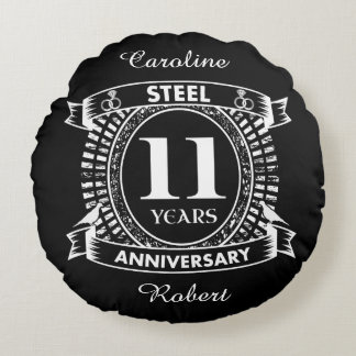 11TH wedding anniversary steel Round Pillow