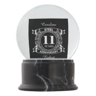 11TH wedding anniversary steel Snow Globe