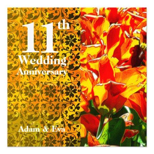 11th Year Wedding Anniversary Invitation Tulip