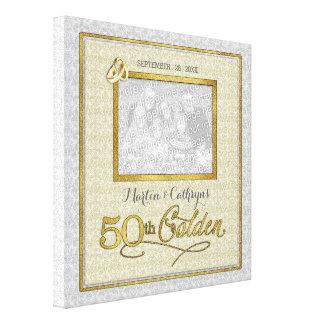 11x11-inch Golden 50th Wedding Anniversary Photo Canvas Print