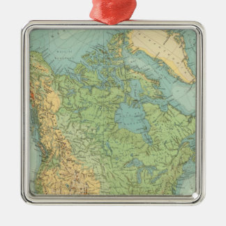 12122 North America Physical Silver-Colored Square Ornament