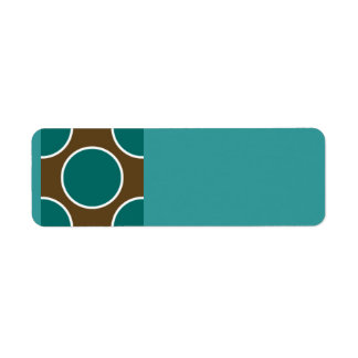 124 RETRO COLORS BROWN TEAL WHITE POLKADOTS PATTER RETURN ADDRESS LABEL