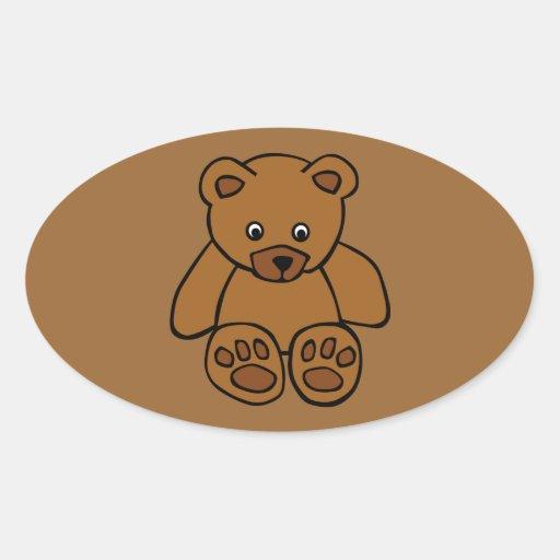 12703-simple-teddy-bear-vector BROWN TEDDY BEAR T Oval Stickers